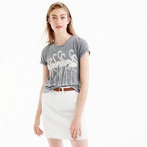 J. Crew Grey & White Flamingo Short Sleeve Shirt